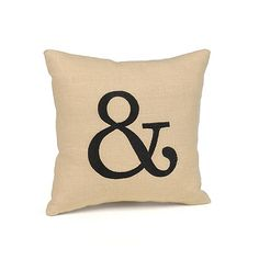 Linen Throw Pillow - & A little ampersand (&) pillow is a fun way to add a custom touch to your décor. Natural linen accent pillow is embroidered in your choice of color. Also makes an adorable ring bearer pillow.