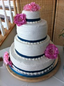 4 Tier Wedding Cake Navy Blue And Fuschia Pink