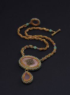 Rhodonite Filigree A Beadwoven Reversible Necklace by NEDbeads, $175.00