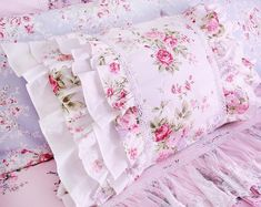 Items similar to White Pink Roses Layered Ruffle Cotton Pillowcase Victorian Shabby Cottage Princess French Parisian Pillow Sham on Etsy Shabby Chic Interiors, Shabby Chic Bedrooms, Shabby Chic Cottage, Shabby Chic Homes, Shabby Chic Furniture, Victorian Furniture, White And Pink Roses, Beautiful Pink Roses, Pink Soft