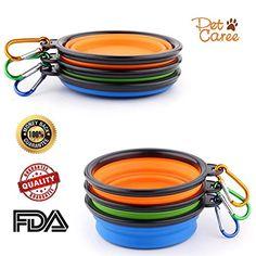 SET OF 3 Collapsible Travel Dog Bowl with Carabiners-Perf...