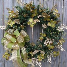 Christmas Wreath - Green and Gold Dogwood Natural Wreath with Bow - Sage Green and Gold via Etsy.