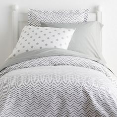 Chevron Gray Percale Duvet Cover - We love the pattern play of the graphic chevron stripes on this playful kids' bedding. Zigzagging across the bed in your choice of warm coral or cool blue, the fun stripes on these kids' sheets are printed on soft cotton 200-thread count percale.
