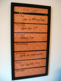 Our Launch Pad & Weekly Calendar...cool idea. Maybe for our meal planning, too?