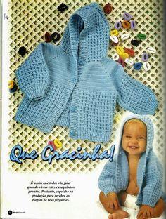 Crochê Tricô do Bebê: Casaquinho em crochê com capuz