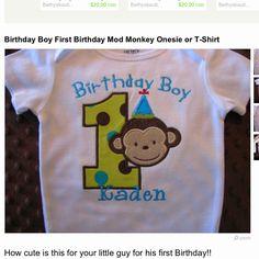 Monkeys first birthday - cute shirt for Brayden