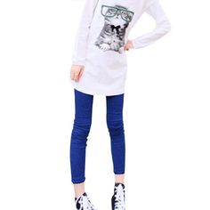 Allegra K Women Elastic Waist Solid Color Skinny Stretchy Leggings Pants Blue XS Allegra K. $8.66