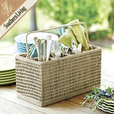 Southern Living Seagrass Dinnerware Caddy - $34.99.