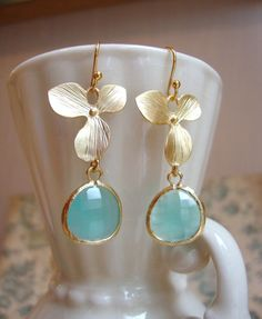 Matte Gold Orchid and Aqua Blue Dangle Earrings