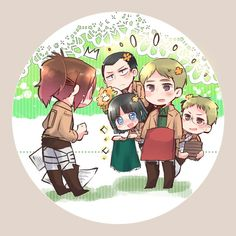 Hanji Zoé  and Moblit along with the rest of the squad |Shingeki no Kyojin