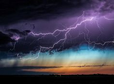 """""""Spectacular lightning from the anvil of an LP supercell at sunset in north east Colorado on 15th June 2013. Although the afternoon chase was a little disappointing, the evening was full of LP supercells, sunset colour and awesome lightning."""""""