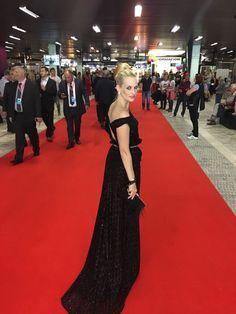 The STAR red carpet moment for Romana Kurucova wearing Ivana Rosova Couture dress at Karlove Vary International Film Festival 2017 #iwearivanarosova.com