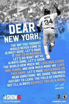 David Ortiz's letter to Yankees fans will be hung around the city before his final series in the Bronx
