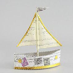 Manuscript Paper Sailboat Ornament