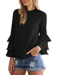 Women Blouses Shirts 2017 Autumn Ladies Chiffon Shirts Elegant O-Neck Flounce Long Sleeve Solid Blusas Casual Loose Tops Ruffle Shirt, Chiffon Shirt, Chiffon Tops, Ruffle Sleeve, Petal Sleeve, Chiffon Blouses, Ruffle Top, Bell Sleeve Blouse, Bell Sleeves
