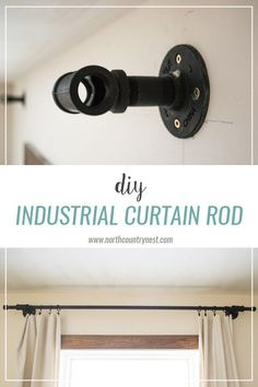DIY Industrial Curtain Rod is part of home DIY Curtains - A simple and easy industrial DIY curtain rod using piping found at an everyday home improvement store Design Industrial, Industrial House, Industrial Pipe, Industrial Closet, Industrial Chair, Industrial Shelving, Industrial Wallpaper, Industrial Lighting, Vintage Industrial