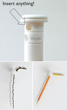 You stick in whatever you want and it makes a clock! Cool #product_design. I see this with knitting needles. Kd