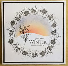 handmade card from Running with Scissors ... winter sunset surrounded by a twiggy wreath in grays ... Rubber Stamp Tapestry ....