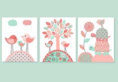 Coral and Mint Nursery Bird Nursery Art Baby Girl Decor