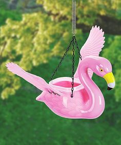 Exhart Flamingo Hanging Feeder/Planter | zulily