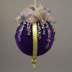 """""""Icicles"""" by Towers and Turrets - Cobalt Blue Velvet Christmas Ball Ornament with Glass Bead Glitter - Victorian Inspired, Handmade : Jewelt..."""