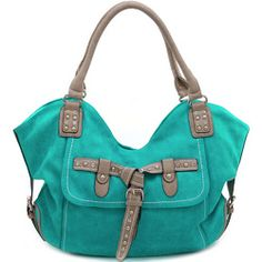 Women's Fashion Hobo w/ Chic Rhinestone Studded Belt Accent – Turquoise Color: Turquoise – ResellerHub. Studded Bag, Turquoise Color, Fashion Handbags, Travel Bags, Messenger Bag, Studs, Satchel, Women's Fashion, Belt