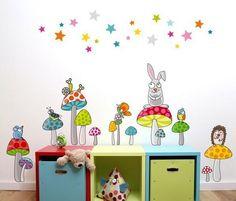 sticker decorativo cogumelos e animais