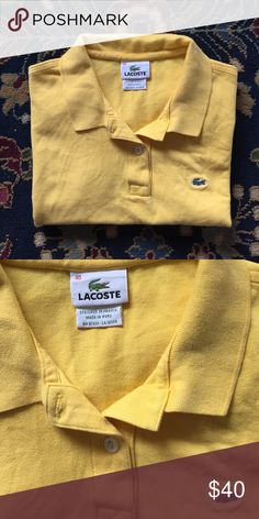 "Lacoste Polo Classic and simple. The style, comfort and luxury you expect from Lacoste. In excellent condition with no issues. Tag reads 40 which is a size 8. 17"" underarm to underarm and 20.25"" L Lacoste Tops Tees - Short Sleeve"