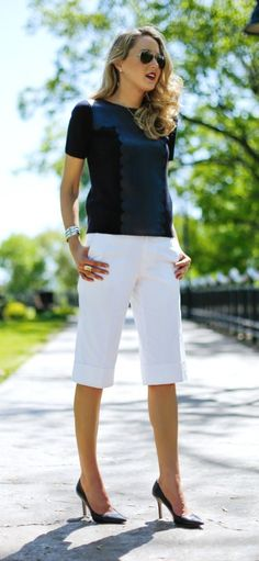 white cuffed gaucho pants, navy scallop leather tee, classic pumps + silver jewelry