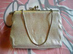 Vintage 1960s Harry Levine Silver Evening Purse Clutch Bag HL Handbag by BlackRain4, $24.99