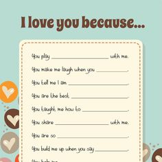 Words have such power to encourage. Let your children share iMOM's I Love You Because list with someone they love today.