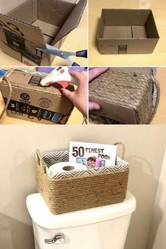 DIY rope basket- Upcycle your old box into the perfect storage solution. Organize your bathroom or your home with this great budget friendly upcycle. Organize your home on a budget. home diy projects DIY Rope Basket Rope Crafts, Diy Home Crafts, Easy Crafts, Decor Crafts, Upcycled Crafts, Kids Crafts, Diy Crafts Useful, Twine Crafts, Recycled Decor