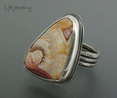 Silver Ring, Crazy Lace Agate, Sterling Silver, Agate Cabochon, Metalsmith Jewelry, Size 9, Statement Ring,