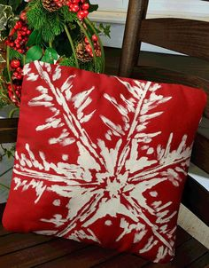 Snowflake, Red Pillow, White Snowflakes, Christmas, Holiday, Winter, Indoor/Outdoor,  Hand-painted, Pillow Cover