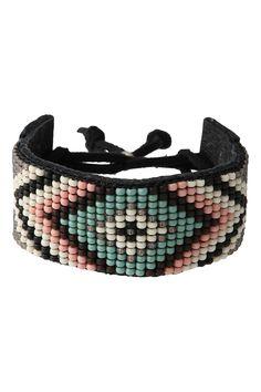 Bead Weaved Leather Bracelet
