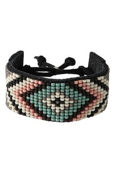 Bead Weaved Leather Bracelet