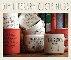 diy literary quote mugs
