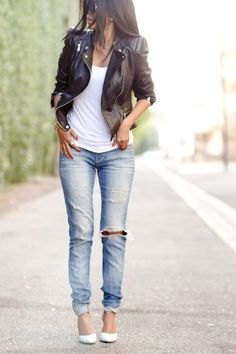 Jeans, white t-shirt, leather jacket, heels