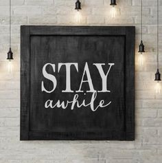 Stay Awhile Large Wall Sign Stay Awhile Large Wall Sign Mandy Fuentez mackinmandy Home sweet home This large vintage inspired handmade sign would make a […] room signs quotes Vintage Store, Ideas Hogar, Foyer Decorating, Decorating Ideas, Decorating A Large Wall In Living Room, Interior Decorating, Interior Design, Farmhouse Wall Decor, Patio Wall Decor
