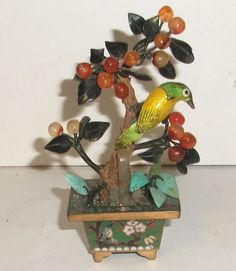 RARE SMALL CLOISONNE ENAMEL BIRD & SOLID WHITE JADE TURQUOISE STONE BLOSSOM TREE