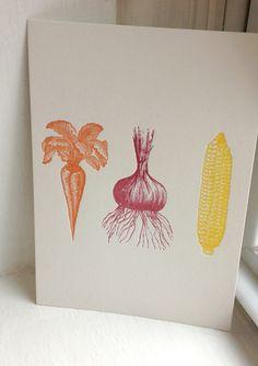 """Garden Veggies 5"""" x 7"""" letterpress print on Etsy, CHF13.87"""