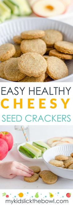 Cheesy seed crackers are an easy homemade cheese cracker with the extra nutritional boost of seed. These crackers are a great healthy snack for the whole family. Coconut Milk Nutrition, Pasta Nutrition, Broccoli Nutrition, Cheese Nutrition, Cooking With Kids Easy, Healthy Snacks For Kids, Healthy Eating, Healthy Food, Clean Eating