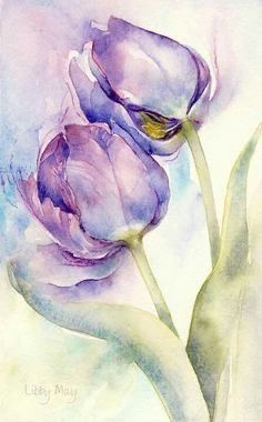 Super painting watercolor flowers step by step 44 ideas - Tulpen - Watercolor Cards, Watercolor Background, Watercolor Flowers, Simple Watercolor, Watercolour Paintings, Step By Step Watercolor, Watercolor Artists, Watercolor Illustration, Art Floral