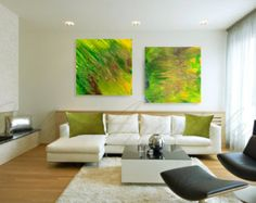 70''Huge Abstract Triptych Painting 3 Parts por JuliaApostolova