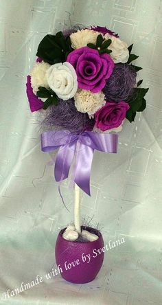 Topiary tree with white, violet and green paper flowers. #Topiaries #topiary…
