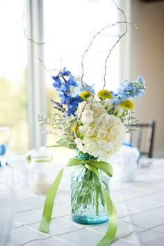blue and white table arrangement