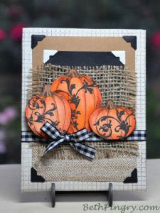Pumpkins home decor art, by #BethPingry for  @scrapbookadhesivesby3l and  @Stampendous Stamps blog hop. #Halloween #Thanksgiving #mixedmedia