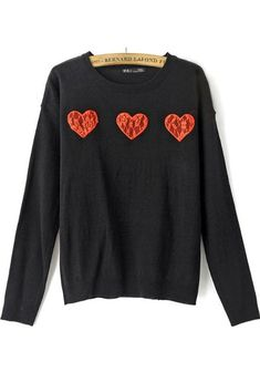 Black Love Lace Long Sleeve Pullover #Pullovers #Sweaters