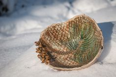 Pine Branch Pottery Bowl with Pine Cone Handbuilt by NorthWorks