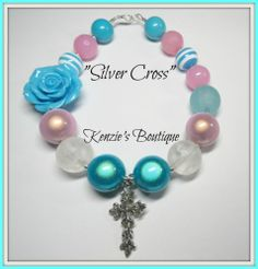"""""""Silver Cross"""" Chunky Beaded Necklace, Photo Prop, Adult / Children, Church, God"""